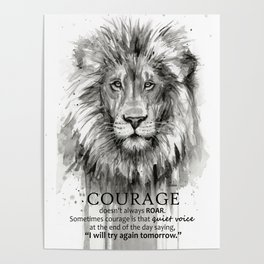 Lion Courage Motivational Quote Watercolor Painting Poster