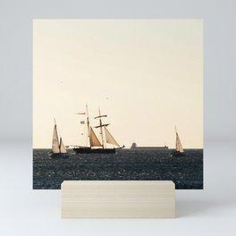 Sailboats in a windy day Mini Art Print