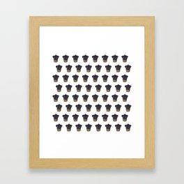 """Cherry on Pup"" Black Pug Cake Pattern Framed Art Print"