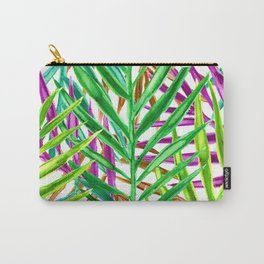 Rainbow Watercolor Palm Leaves in White Carry-All Pouch