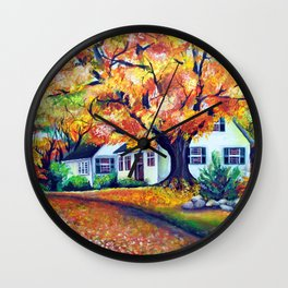 Picturesque Landscape with Vivid Maple Trees Wall Clock