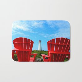 Lighthouse and chairs in Red White and Blue Bath Mat