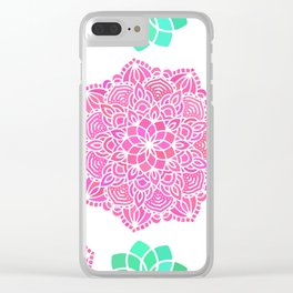 pink mandala pattern Clear iPhone Case