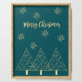 Merry Christmas Teal Gold Serving Tray