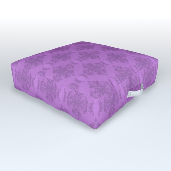 elegant curling fern damask pattern on purple Outdoor Floor Cushion