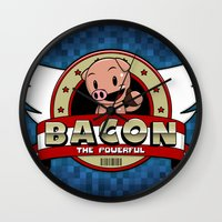 bacon Wall Clocks featuring Bacon by maiconmcn