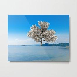 Tree in blue Metal Print
