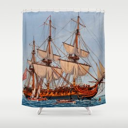 Revolutionary Painting of the Frigate Confederacy Shower Curtain