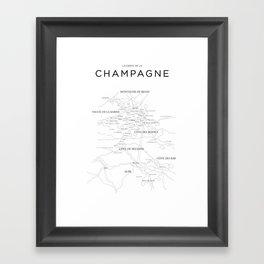Champagne map Framed Art Print