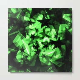 Dark green space stars with glow in the distance from the foil in perspective. Metal Print