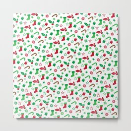 Red And Green Christmas Objects Decor Metal Print