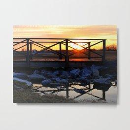 Walking Bridge with Sunset Metal Print