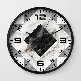 Gold foil white black marble #3 Wall Clock