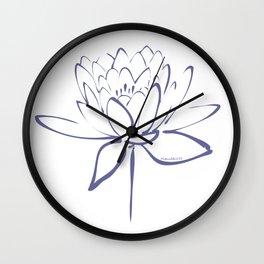 Lotus Blossom Calligraphy Blue Wall Clock