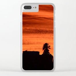 Blood Orange Sunset Over Small Desert Town Clear iPhone Case
