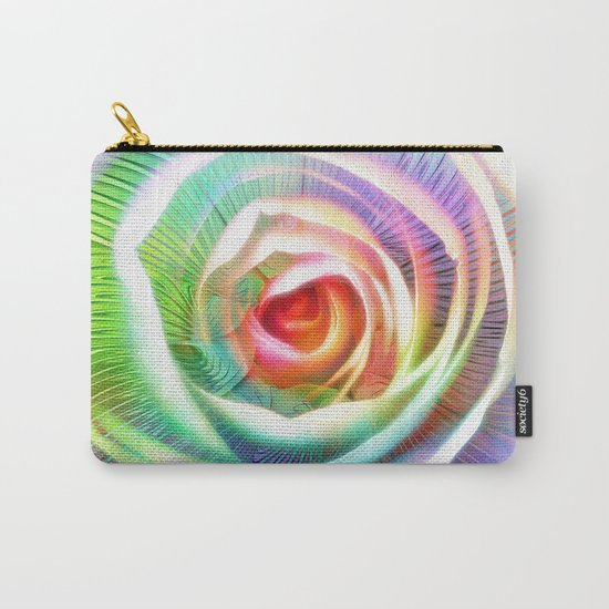 Rainbow Rose & Fractal Carry-All Pouch