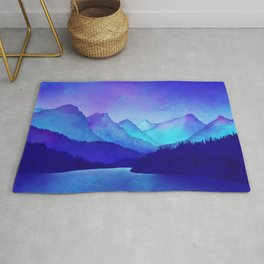 Cerulean Blue Mountains Rug