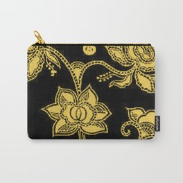 Vintage Floral Primrose Yellow and Black Carry-All Pouch