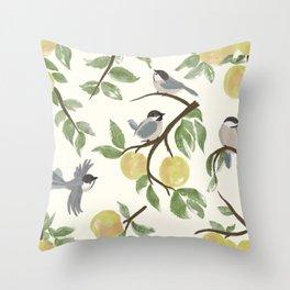 Apple Tree & Chickadees Throw Pillow
