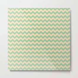 Elegant Green Chevron Pattern Metal Print