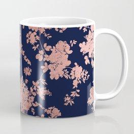 Modern elegant navy blue faux rose gold floral Coffee Mug