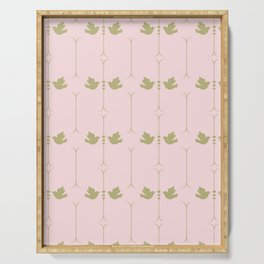 Gold Doves on Pink Pastel Pattern Serving Tray