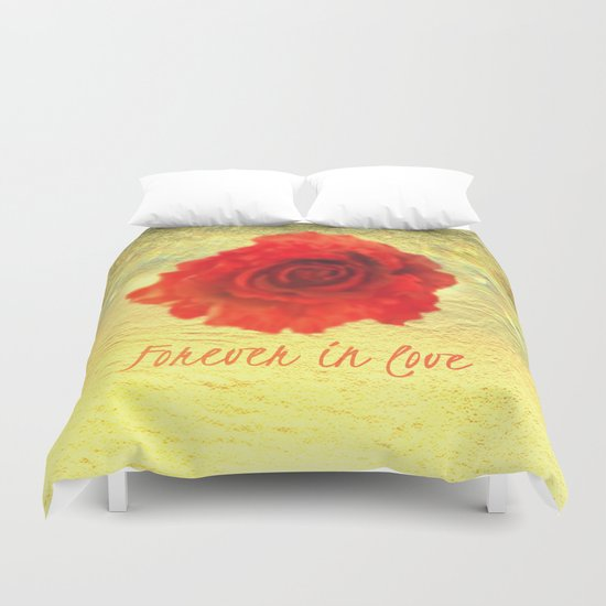 Forever in love red rose on  gold with rays  Duvet Cover