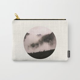 Mid Century Modern Round Circle Photo Misty Foggy Parallax Mountain Hills Carry-All Pouch