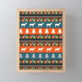 Festive Christmas deer pattern Framed Mini Art Print