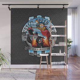 Custom Speed Shop Hot Rods and Muscle Cars Illustration Wall Mural