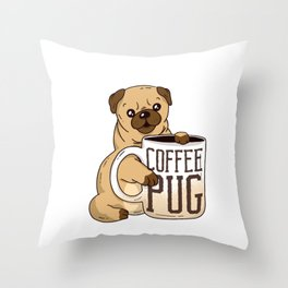 Cute Coffee Pug graphic, Coffee And Dog Lover Gift, Pug Mama design Throw Pillow