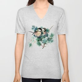 Chickadees in the Woods Unisex V-Neck