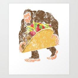 """Bigfoot With A Taco Funny Distressed Cinco De Mayo T-Shirt "" Art Print"