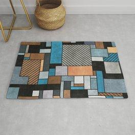 Random Concrete Pattern - Blue, Grey, Brown Rug