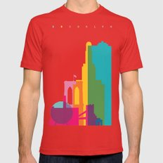 Shapes of Brooklyn. Accurate to scale Mens Fitted Tee Red MEDIUM
