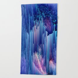 Beglitched Waterfall - Abstract Pixel Art Beach Towel