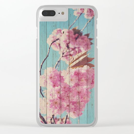 Sweet Flowers on Wood 06 Clear iPhone Case