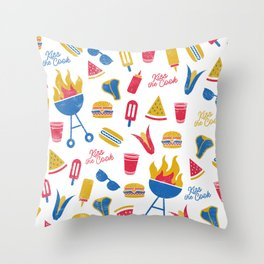 Summer BBQ Pattern - Blue Red Yellow Throw Pillow