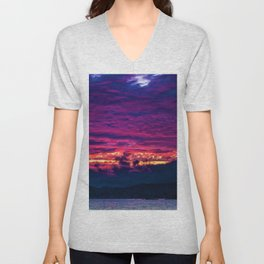 Mount Desert Island, Arcadia Maine Sunset Unisex V-Neck