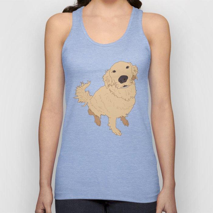 Golden Retriever Love Dog Illustrated Print Unisex Tank Top