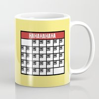 calendar Mugs featuring The Laughing Calendar by Josh LaFayette