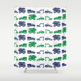 Blue and Green Construction Vehicles Shower Curtain