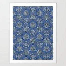 Blue flower Swirl pattern Art Print