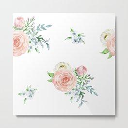 Watercolor floral background pastel colors Metal Print