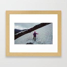 Hiking through the snow in the Australian Alps. Framed Art Print