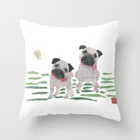 pugs Throw Pillows featuring PUGS by Bless Hue