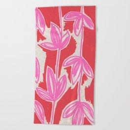 Red and Pink Sketchbook Botanical Beach Towel