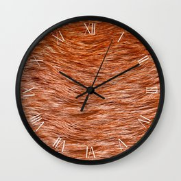 Red fox fur pelt textured cloth abstract Wall Clock