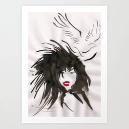 Woman & Bird Art Print