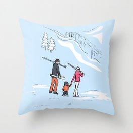 Family Skiing Day Throw Pillow